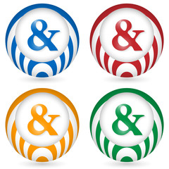set of four icon with ampersand