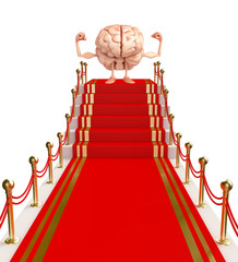 Brain Character with red carpet