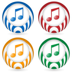 set of four icon with music symbol