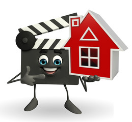 Clapper Board Character with home