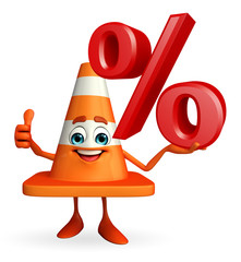 Construction Cone Character with percent sign