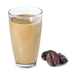 coffee milk and coffee beans on white background