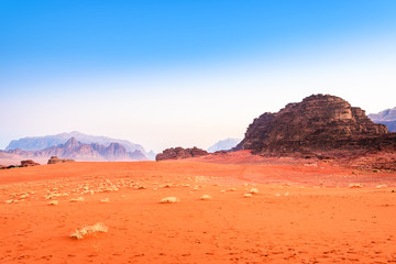 Scenic Wadi Rum at early-morning in Jordan.
