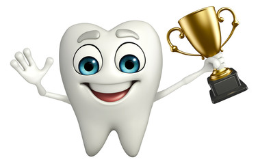 Teeth character with trophy