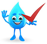 Water Drop Character with right sign