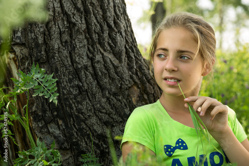 canvas print picture portrait of a girl in the forest