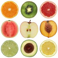 Collage mit gesunden Früchten und Obst