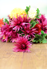 Beautiful flowers on wooden table,  on bright background