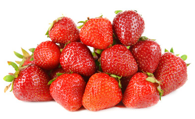 Ripe sweet strawberries isolated on white