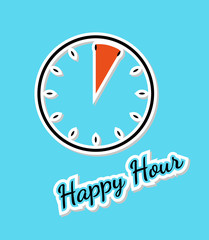 blue happy hour background with clock