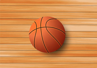 Basketball on the hardwood floor background