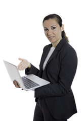 business woman presenting a laptop