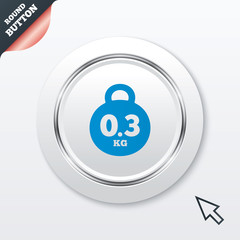 Weight sign icon. 0.3 kilogram (kg). Mail weight