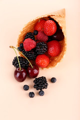 Different ripe berries in sugar cone, on beige background