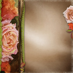 Vintage  Beautiful Roses Album Cover With Lace And Old Paper ( 1