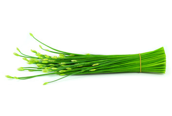 Ripe spring onion isolated on white background