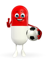 Pill Character with football