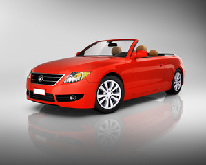 Three-Dimensional Red Convertible Car