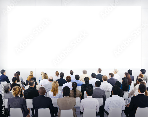 Business People Looking at the Blank Presentation