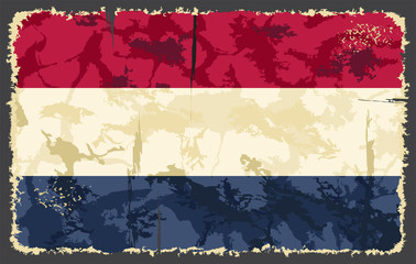 Holland, Netherlands grunge flag. Vector