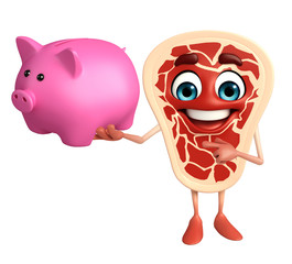 Meat steak character with piggy bank
