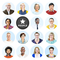 Headshots of Multi-Ethnic Group of People