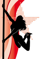 black outline of a dancing girl on a pole