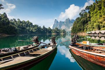 Long tail boats on lake, Khao Sok National Park