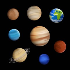 Vector Illustration of Planets in the Solar System