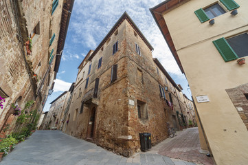 Narrow street in Pienza, Tuscany, Italy