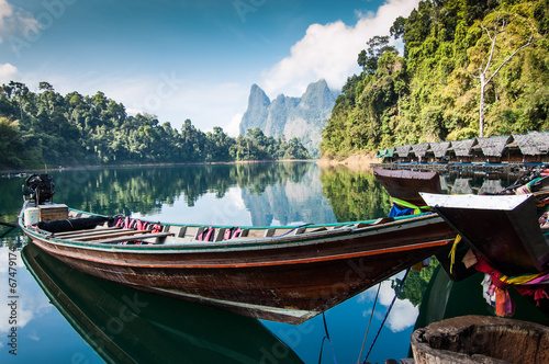 Long tail boat & cabins, Khao Sok National Park - 67479174