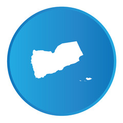 3D button with the outline of the country of Yemen