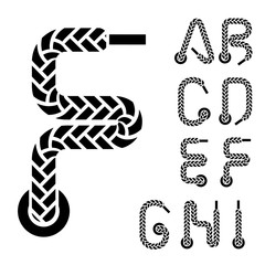 vector shoe lace alphabet letters part 1