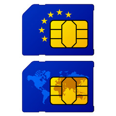 vector europe flag world map sim card