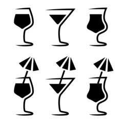 vector cocktail glass silhouette with parasol