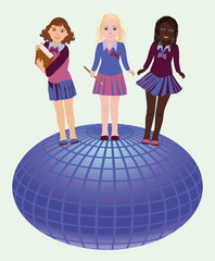Back to school. Little school girls and globe