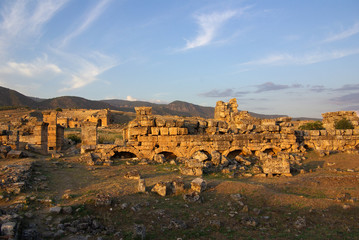 Ruins of ancient Hierapolis, Pamukkale. Turkey