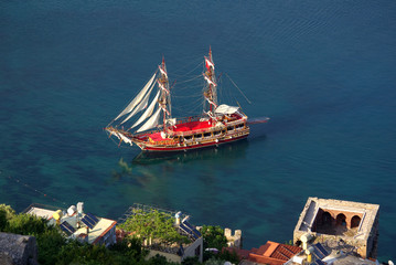 Ship in the port of Alanya, Turkey