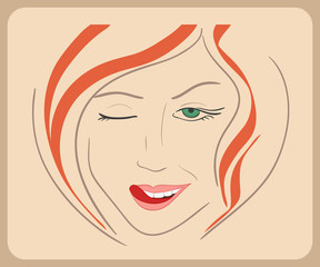 Handdrawn woman face winks with red hair and green eyes.