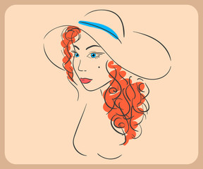 Handdrawn woman wearing wavy red hair and hat. close-up