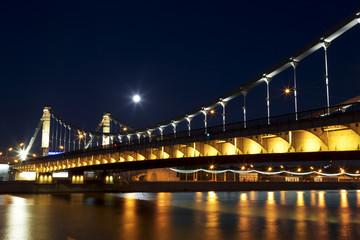 Crimean bridge at night. Moscow