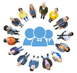 Aerial View of Diverse People and Character Symbol