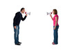 man and woman bullhorn isolated