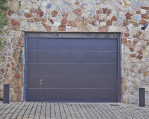 modern house garage door, Athens suburbs, Greece