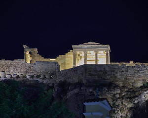 Erechtheion illuminated, Athens acropolis Greece