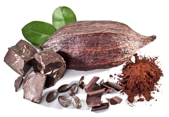 Chocolate blocks and cocoa bean.