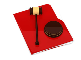 Red folder with judge gavel - isolated on white