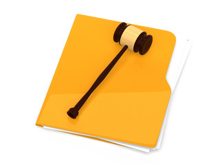 Yellow folder with judge gavel on it - isolated