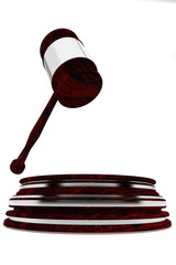 Judge gavel with silver decorations - wooden gavel - law concept