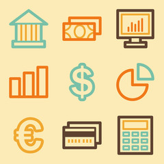 Finance web icons set in retro style